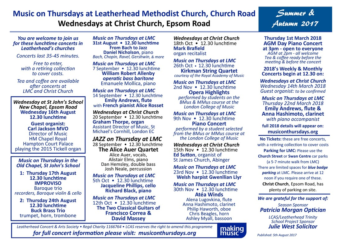Music on Thursdays at LMC, Wednesdays at Christ Church, Summer / Autumn 2017 Diary