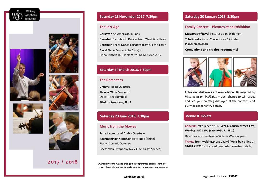 Woking Symphony Orchestra, 2017-18 Season leaflet, Side 1